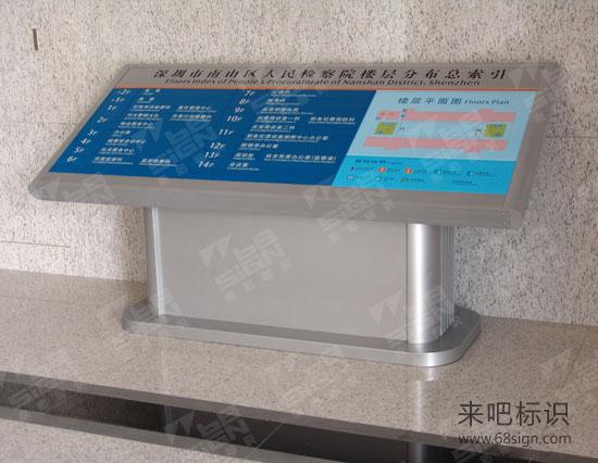深圳市南山区人民检察院大堂斜面楼层分布总索引牌