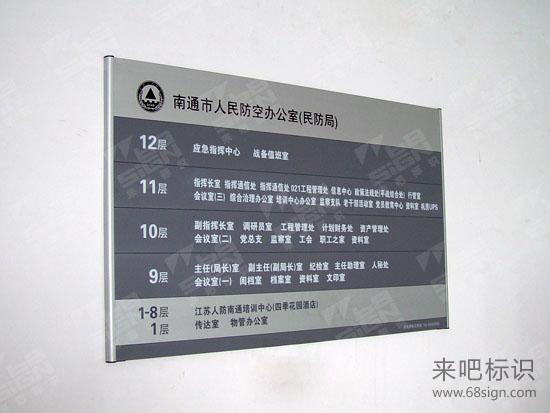 南通市人民防空办公室楼层索引牌_政府机关标识标牌图片