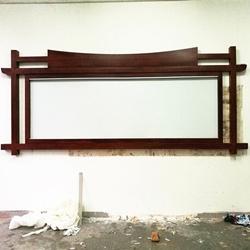 中式不锈钢宣传栏校园橱窗企业宣传窗仿古木纹烤漆公告栏制作